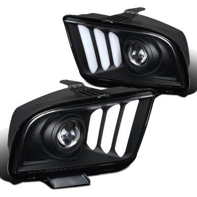 05-09 Ford Mustang LED DRL Tube Projector Headlights - Black