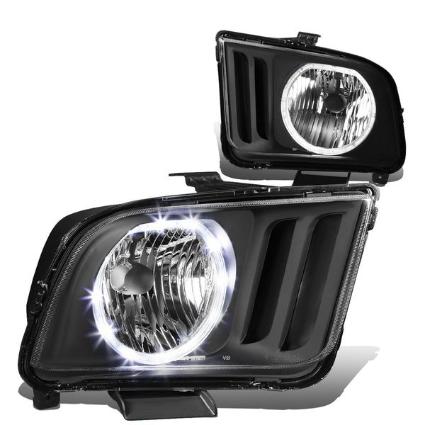 05-09 Ford Mustang LED Halo Replacement Headlights - Black