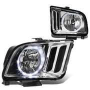 05-09 Ford Mustang LED Halo Replacement Headlights - Chrome