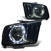 05-09 Ford Mustang LED Halo Replacement Headlights - Smoked