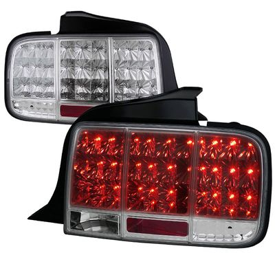 05-09 Ford Mustang LED Sequential Turn Signal LED Tail Lights - Chrome