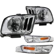 05-09 Ford Mustang OEM-Style Headlights + Bumper Lens Combo - Chrome