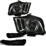 05-09 Ford Mustang OEM-Style Headlights + Bumper Lens Combo - Smoked