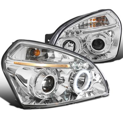05-09 Hyundai Tucson Dual Halo LED Strip Projector Headlights - Chrome