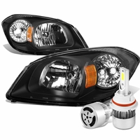 05-10 Chevy Cobalt / 07-09 Pontiac G5 Crystal Headlight (Black Housing Amber Reflector)+6000K White LED w/ Fan