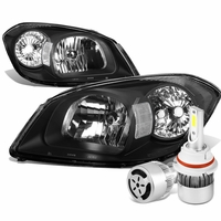 05-10 Chevy Cobalt / 07-09 Pontiac G5 Crystal Headlight (Black Housing Clear Reflector)+6000K White LED w/ Fan