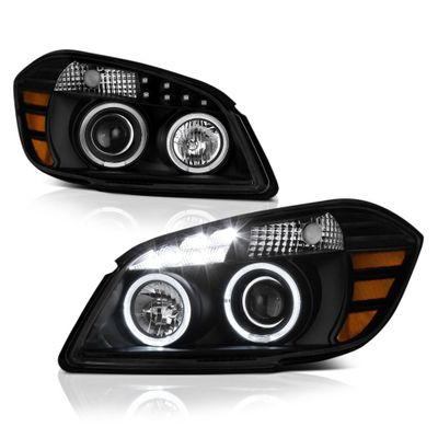 05-10 Chevy Cobalt 07-10 Pontiac G5 Angel Eye Halo LED Projector Headlights - Black