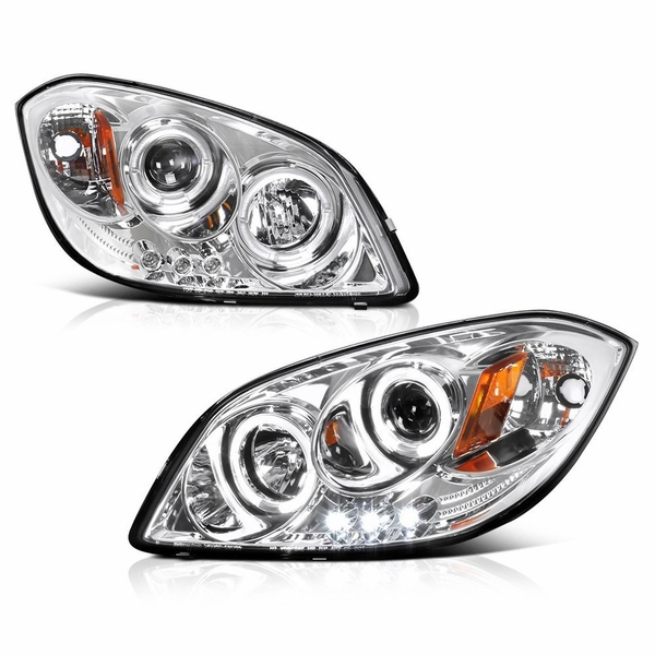 05-10 Chevy Cobalt Dual Angel Eye Halo & LED Projector Headlights - Chrome