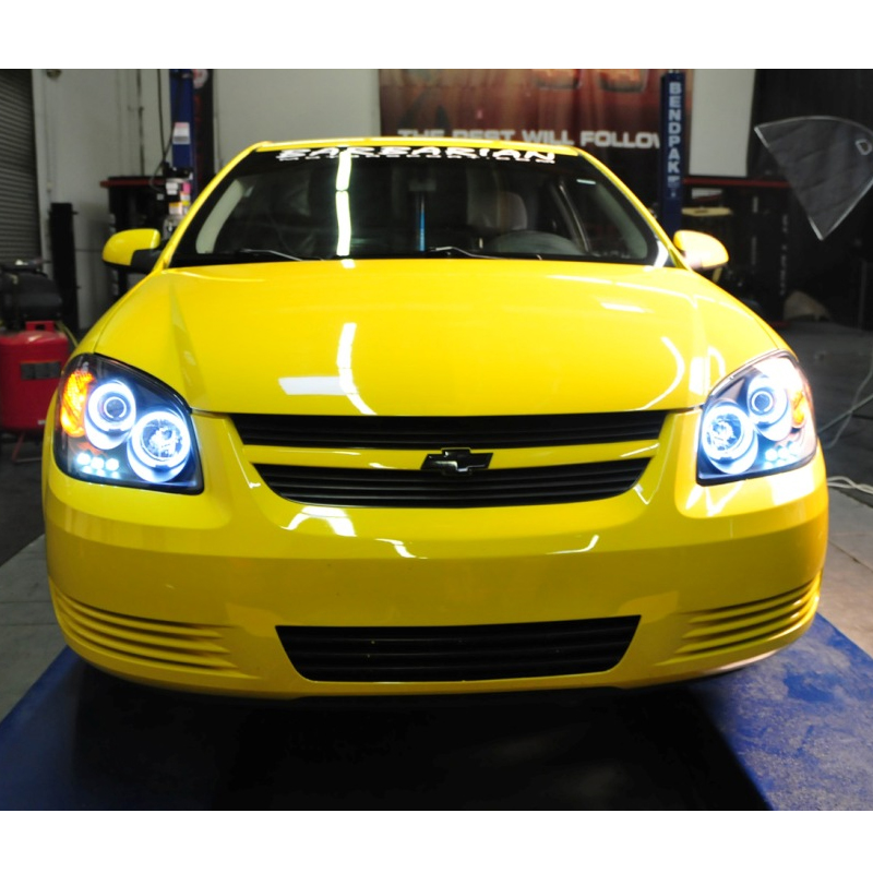 05 10 Chevy Cobalt Dual Angel Eye Halo Led Projector Headlights Smoked