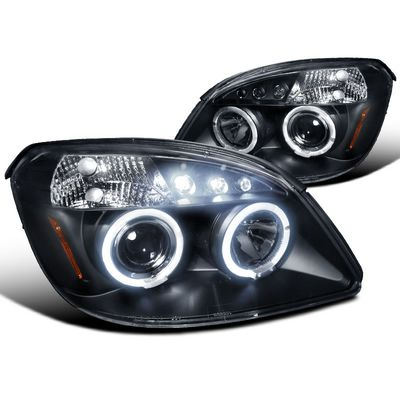 05-10 Chevy Cobalt / G5 / Pursuit Angel Eye Halo & LED Projector Headlights - Black