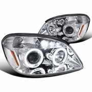 05-10 Chevy Cobalt / G5 / Pursuit Angel Eye Halo & LED Projector Headlights - Chrome
