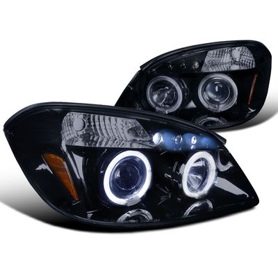 05-10 Chevy Cobalt / G5 / Pursuit Angel Eye Halo & LED Projector Headlights - Gloss Black