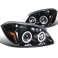 05-10 Chevy Cobalt / G5 / Pursuit Angel Eye Halo & LED Projector Headlights - Gloss Black / Clear