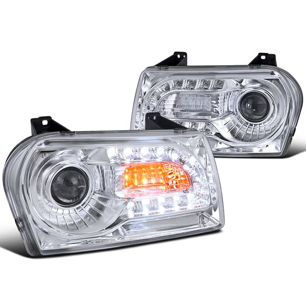 05-10 Chrysler 300 / 300 Limited LED DRL Projector Headlights - Chrme