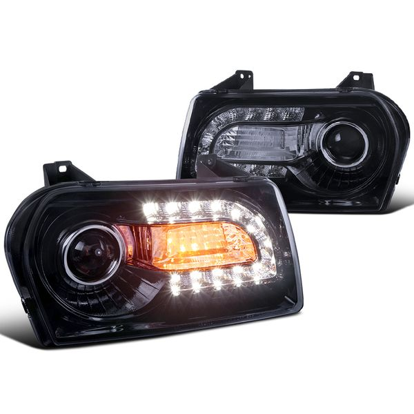 05-10 Chrysler 300 / 300 Limited LED DRL Projector Headlights - Gloss Black