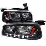 2006-10 Dodge Charger SMD LED DRL 1PC Headlights w/ Corner - Black