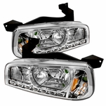 05-10 Dodge Charger 1-Piece LED DRL Crystal Headlights - Chrome