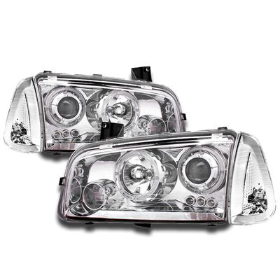 05-10 Dodge Charger Angel Eye Halo / LED DRL Projector Headlights + Corner Lens - Chrome