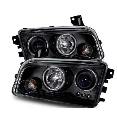 05-10 Dodge Charger Angel Eye Halo & LED Projector Headlights (CCFL Optional) - Black