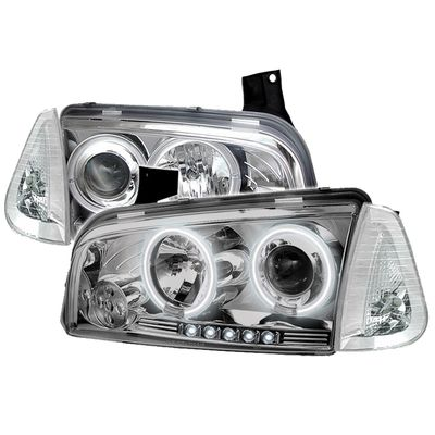 05-10 Dodge Charger Angel Eye Halo LED Projector Headlights + Corner Lens - Chrome