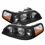 05-11 Lincoln Town Car Crystal Replacement Headlights - Black