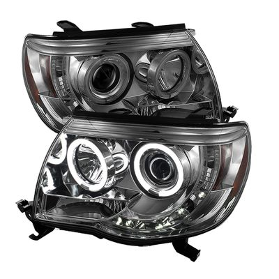 05-11 Toyota Tacoma Angel Eye Halo & LED DRL Strip Projector Headlights - Smoked
