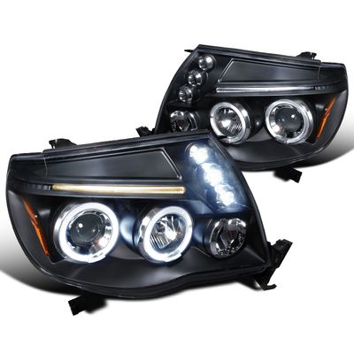 05-11 Toyota Tacoma Angel Eye Halo LED Projector Headlights - Black