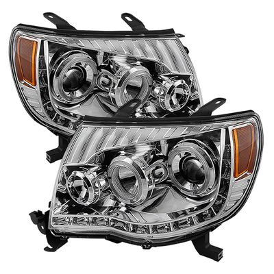 05-11 Toyota Tacoma Angel Eye Halo & LED Projector Headlights - Chrome