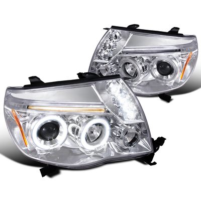 05-11 Toyota Tacoma Angel Eye Halo LED Projector Headlights - Chrome
