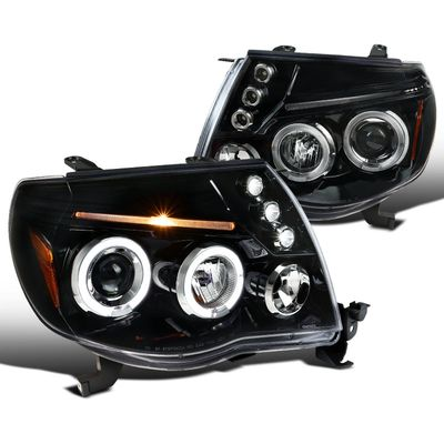 05-11 Toyota Tacoma Angel Eye Halo LED Projector Headlights - Gloss Black / Clear Lens