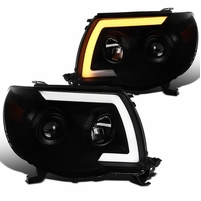 05-11 Toyota Tacoma LED DRL / Sequential Signal Projector Headlights - Black Smoked
