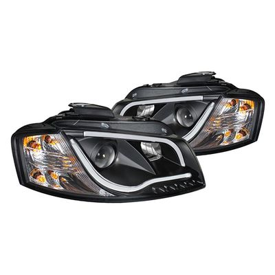 06-08 Audi A3 [Factory Halogen Headlight] DRL LED Tube Projector Headlights - Black