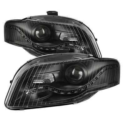 06-08 Audi A4 [Halogen Model Only] ) LED DRL Projector Headlights - Black