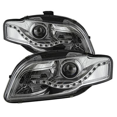 06-08 Audi A4 [Halogen Model Only] LED DRL Projector Headlights - Chrome