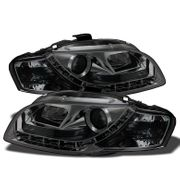 Spyder 2006-2008 Audi A4 [Halogen Model Only] LED DRL Euro Projector Headlights - Smoked