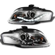 06-08 Audi A4 / S4 Ultra-Bright DRL LED Projector Headlights - Chrome