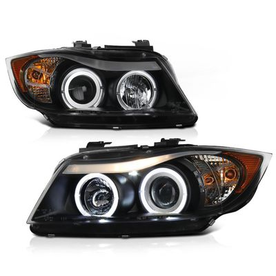 06-08 BMW 3-Series E90 4DR Angel Eye Halo & LED Projector Headlights - Black