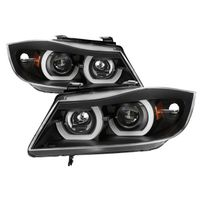 06-08 BMW 3-Series E90 4DR LED Halo Projector Headlights - Black