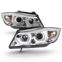 06-08 BMW 3-Series E90 4DR LED Halo Projector Headlights - Chrome