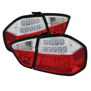 06-08 BMW 3-Series E90 4DR Sedan Fiber-Optic Style LED Tail Lights - Red Clear