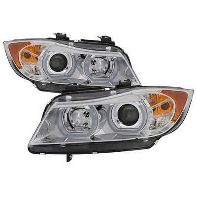 06-08 BMW 3-Series E90 [HID Xenon AFS] LED Tube Projector Headlights - Chrome