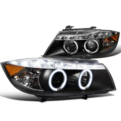 06-08 BMW 3 Series E90 LED Strip Angel Eye Halo Projector Headlights - Black