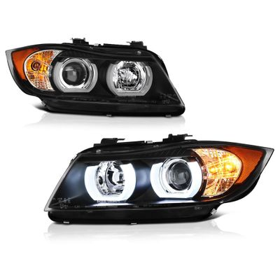 06-08 BMW 3-Series E90 [Sedan] [HID Model] LED Halo Projector Headlights - Black