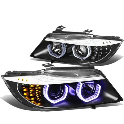 06-08 BMW 3-Series Sedan Pair of Black Housing Amber Signal 3D U-Halo Blue LED Projector Headlight