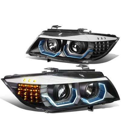 06-08 BMW 3-Serise 4-Dr Sedan Black Housing Clear Lens LED 3D Crystal U-Halo Angle Eyes Headlight/Lamps