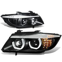 06-08 BMW E90 3-Series Pair of 3D Crystal Halo Projector Black Housing Amber LED Corner Headlights