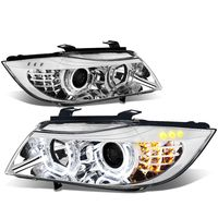 06-08 BMW E90 3-Series Pair of 3D Crystal Halo Projector Chrome Housing Amber LED Corner Headlights