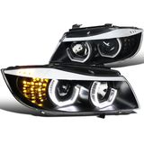 06-08 BMW E90 3-Series Sedan Black LED Angel Eyes 3D Halo Projector Headlights