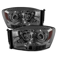 06-08 Dodge RAM 1500 2500 3500 Angel Eye Halo LED Projector Headlights - Smoked