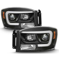 06-08 Dodge RAM 1500-3500 LED Tube Projector Headlights - Black